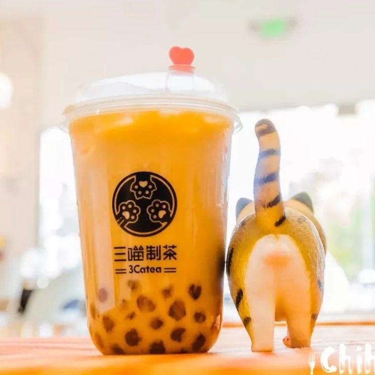 洛杉矶新开撸猫奶茶店!「三喵制茶」豆乳奶盖,桂花乌龙,奶油焦糖舒芙蕾!
