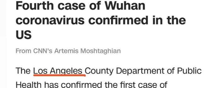 刚刚全美发现第四例新型冠状病毒感染者, 12小时内加州接连确诊2例